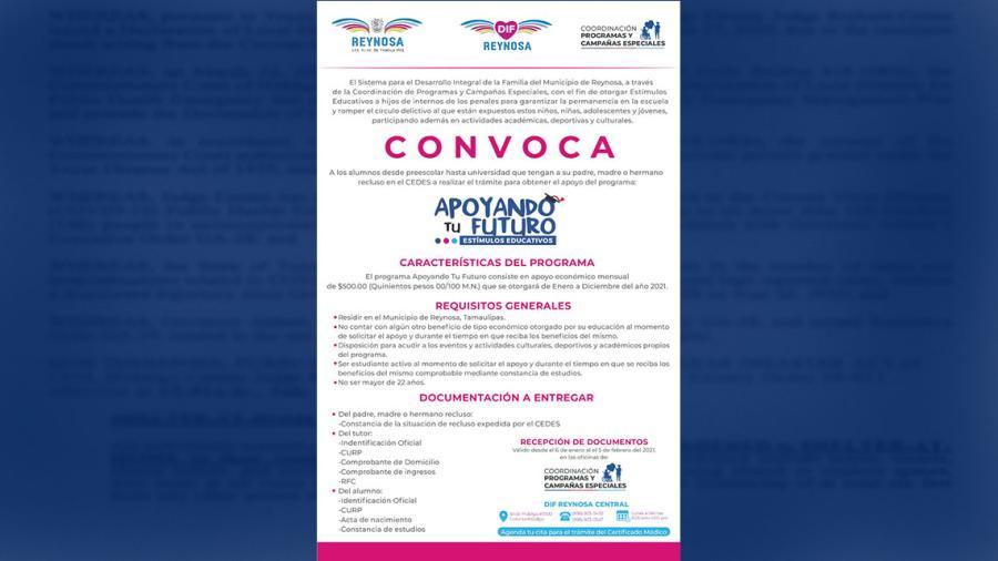 """DIF Reynosa continúa con el registro para las Becas """"Avanzando Contigo"""", """"Contigo Soy Capaz"""" y """"Apoyando tu Futuro"""""""